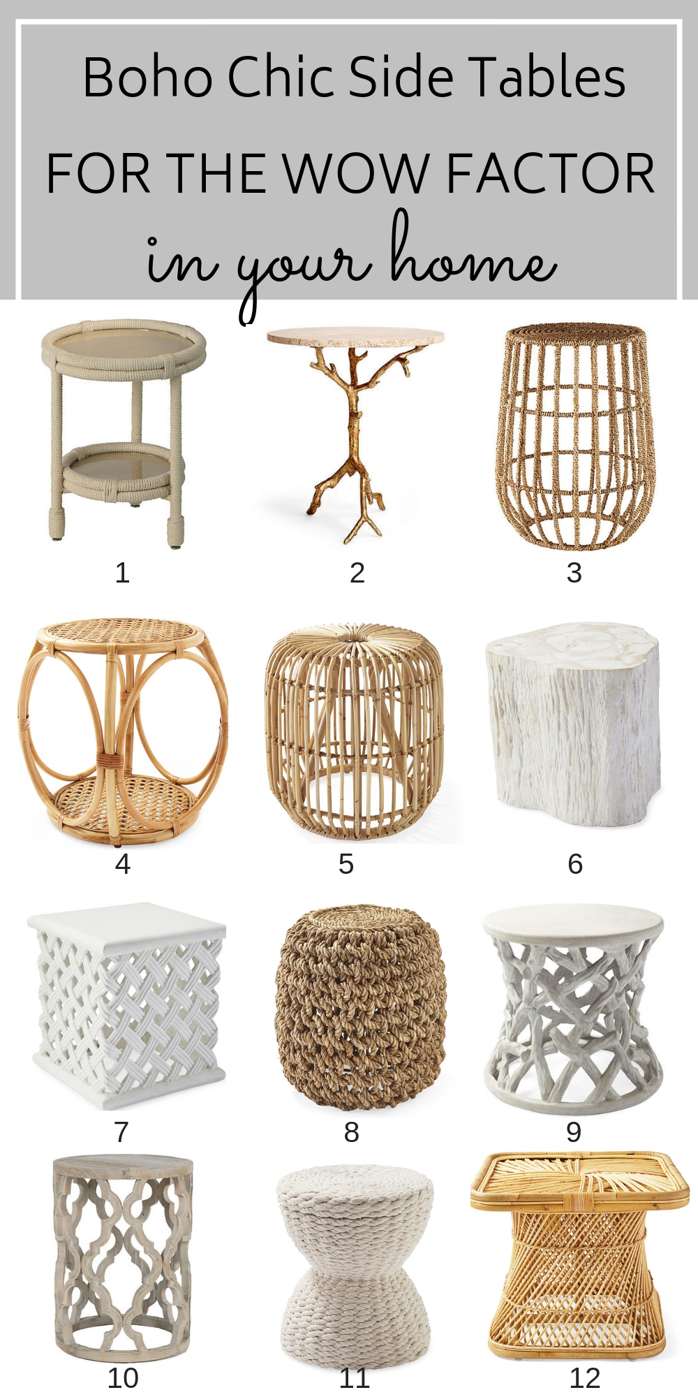 Your home just doesn't feel complete without your custom accents, and nothing is as functional yet fashionable as these boho chic side tables. #bohodecor #bohochichomedecor #bohochic