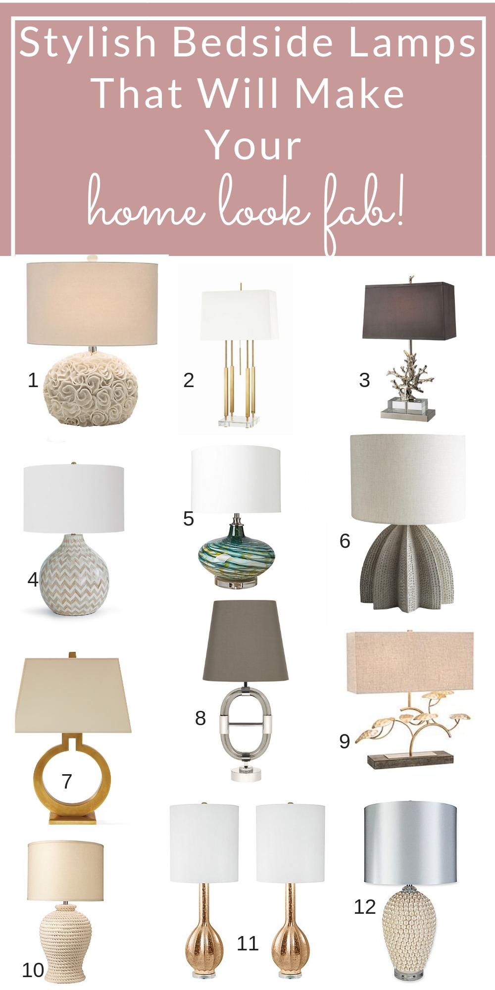 Add style, sophistication and light to your room with these stylish bedside table lamps. #homedecor #tablelamps #bedroomdecor