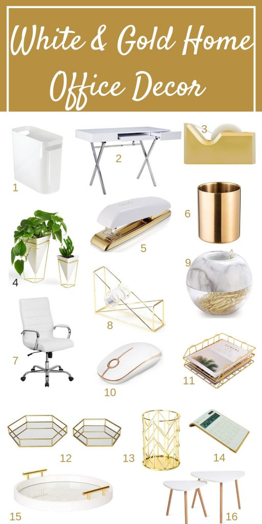 White and Gold home office ideas for a beautiful home office that is functional. feminine and chic. This post covers home office ideas to make working from home enjoyable #homeofficeideas #whitehomeofficedecor #workfromhome