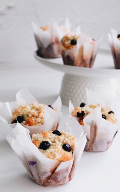 Blueberry Banana Muffins With Streusel Topping
