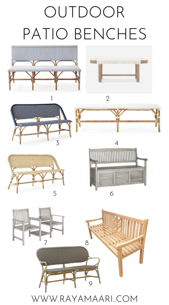 outdoor patio benches