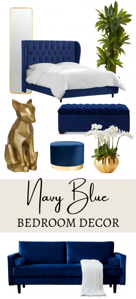 Navy Blue and Gold Bedroom Decor Idea