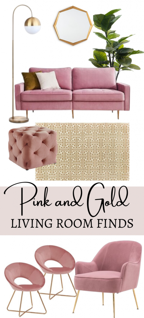 Pink and Gold Living Room Decor Idea