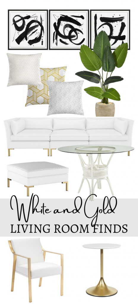 White and Gold Living Room Décor Accessories