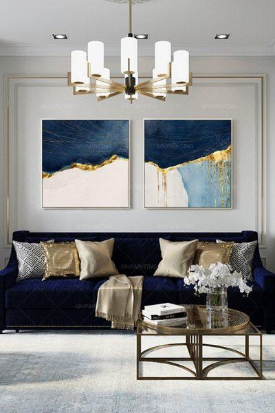 blue gold decor